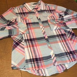 COLUMBIA Pink & Blue Plaid Button Down Shirt Sz XL